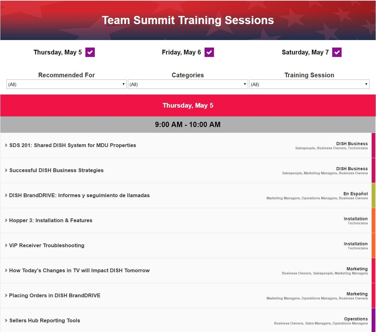 Screenshot of the filterable team summit schedule